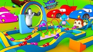 Giant Gorilla Race Track Fun Game Slider - Hot Wheels   Funny Monkey \u0026 Barn Animals 3D Comedy Videos