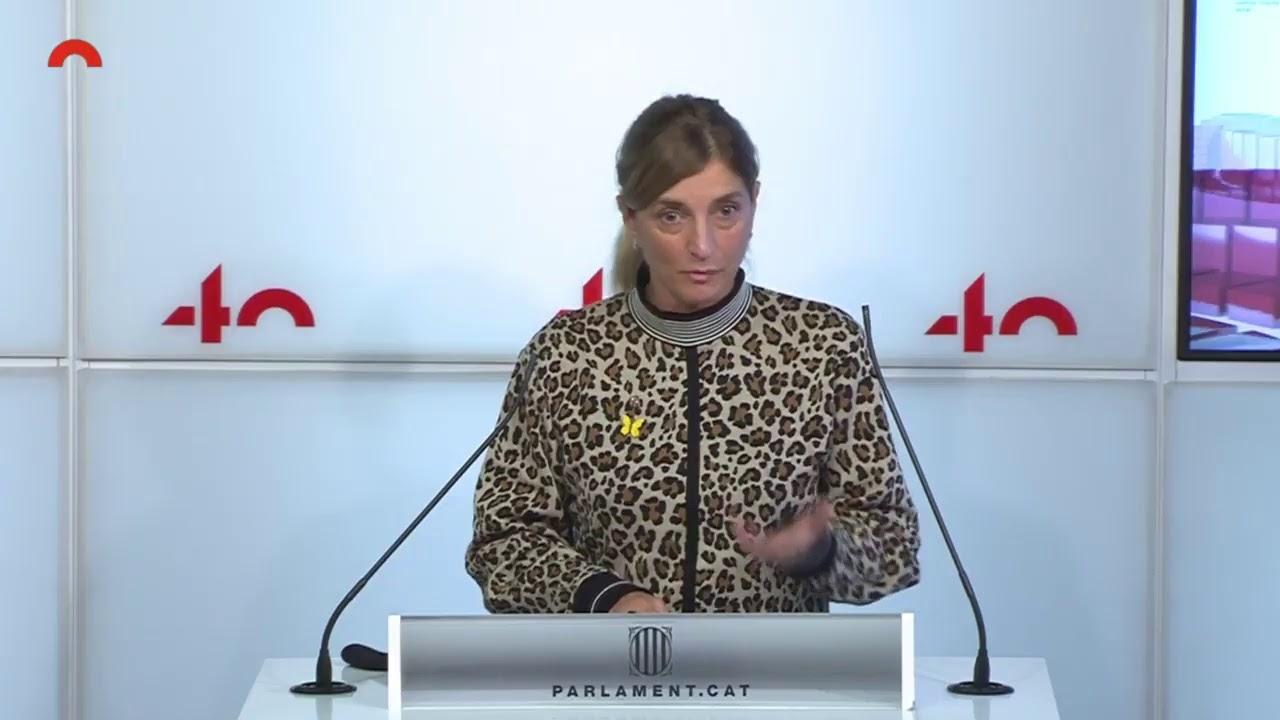 Conferència de premsa de Natàlia Sánchez (CUP), Mònica Palacín (ERC) i Lucas Ferro (CatECP)