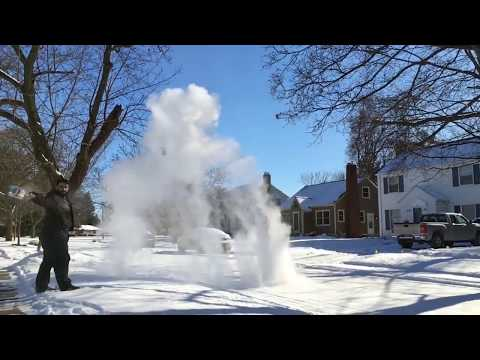 Boiling water thrown into cold air
