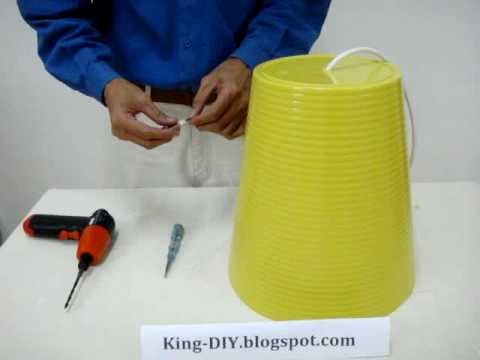How To Make Custom Lamp Shade   With Cheap Waste Basket; 时髦的灯罩