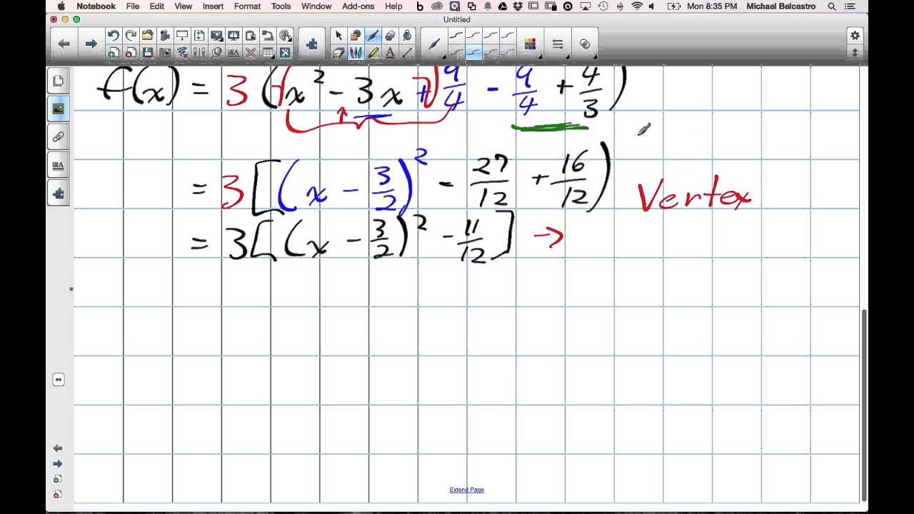 Completing the square moving from standard to vertex to factored completing the square moving from standard to vertex to factored form grade 11 mixed lesson 4 2 12 falaconquin