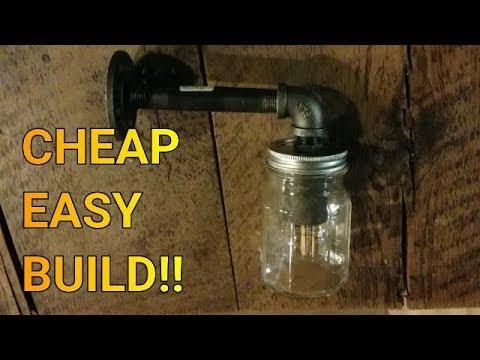 CHEAP EASY DIY Iron Pipe Mason Jar Light Fixture