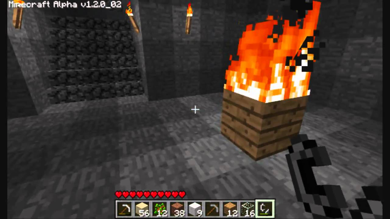 How to make a fireplace in Maynkraft and how to make it burn forever