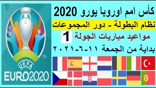 مواعيد مباريات يورو 2020 كأس امم اوروبا 2020 الجولة 1 والقنوات الناقلة - فرنسا والبرتغال والمانيا