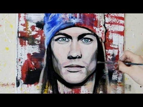 Painting a Portrait of Axl Rose - Pop Art