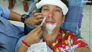 $3 STRAIGHT RAZOR SHAVE by 17 Year Old THAI TEEN GIRL Barber in Pattaya Thailand