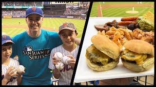 Catching baseballs and eating TONS of free food at Citi Field