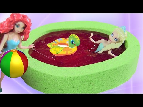 Tự Làm Hồ Bơi Mini Slime Cho Công Chúa Disney Bằng Slime Baff & Cát Động Lực Xanh