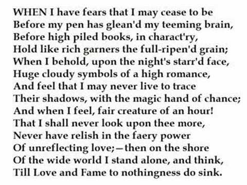john keats when i have fears 2 essay When i have fears that i may cease to be by john keats poem analisys english poetry of the 19th - 20th c paola enguix fern ndez gr a 1 introduction.