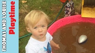 Backyard Pool Mud Party Playtime with Thomas and Louise