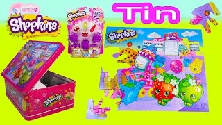Shopkins Lunch Box Puzzle Tin Season 2 5 Pack With Mystery Surprise Blind Opening Toy Unboxing
