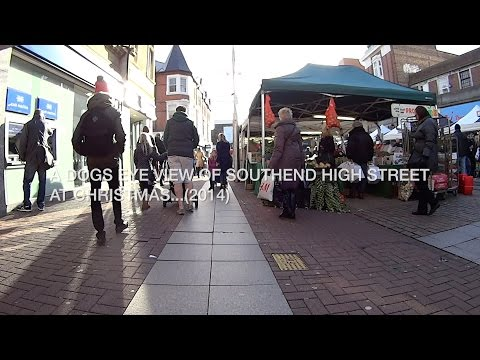 Shopping bag view of Southend on sea High Street at Christmas