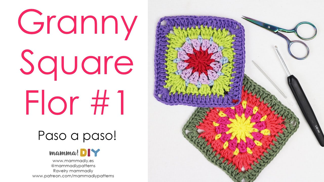 Granny Square Flor 1 Crochet por Cecilia Losada de Mamma Do It Yourself