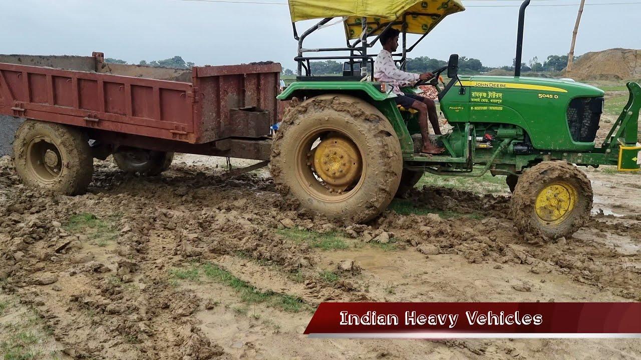 Tractor Stuck In The Field After Unloading Soil   John Deere 5045D Tractor Tire Slipping On Field.