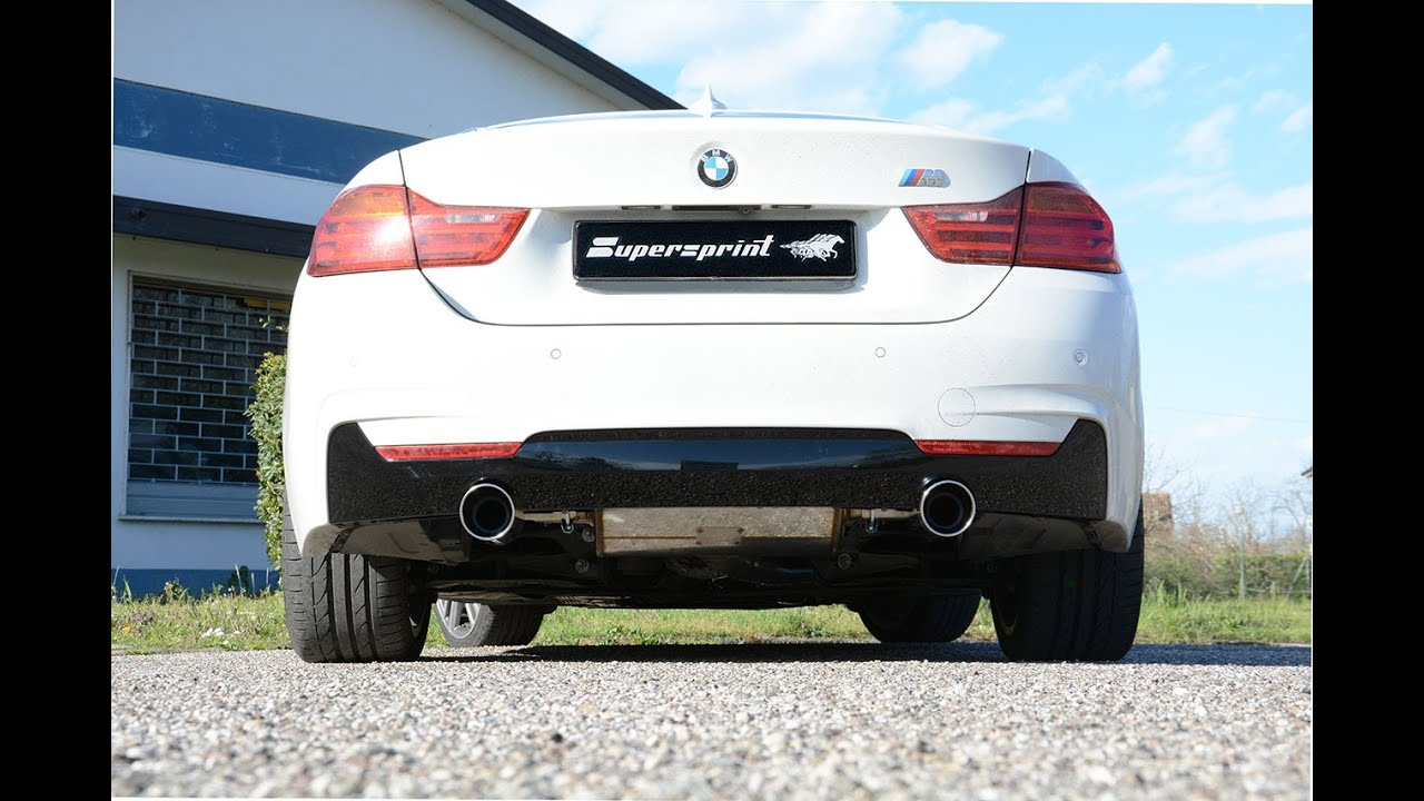 bmw f32 428i sound with supersprint exhaust centre pipe and 435i look muffler