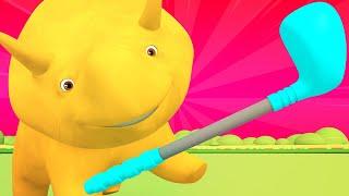 Lerne mit Dino - Dino der Dinosaurier lernt Farben und spiel Golf - Dino dem Dinosaurier 👶