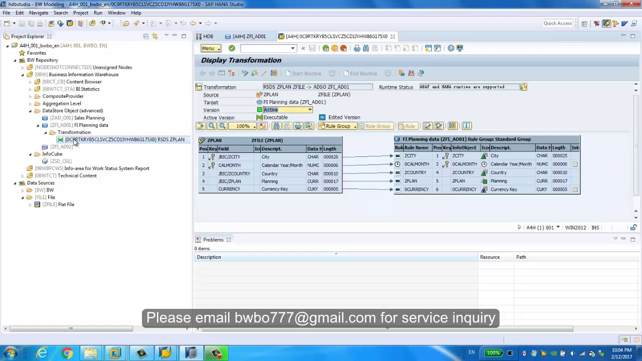 Tutorial of union HANA view and advanced DSO in Composite Provider with BW  modelling tool