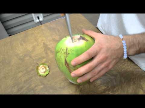How to Properly Open a Fresh Young Green Organic Coconut!