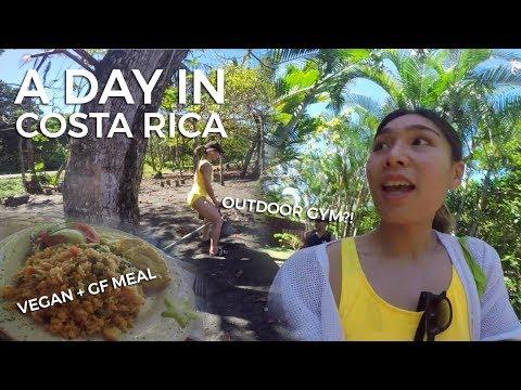 Costa Rica Vlog #1 | Cahuita, Black Sand Beach, Outdoor Gym, Veg Meals