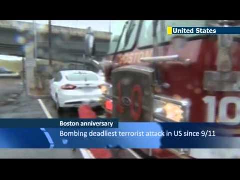 Boston Marathon Bombing Anniversary: Mayor Martin Walsh leads tributes at finish line