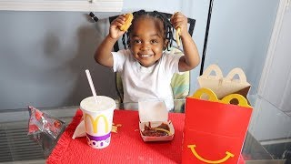 2 YEAR OLD MCDONALD'S HAPPY MEAL MUKBANG * talk about his girlfriend kennedy *