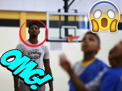 Paul George Surprise Kids at Pickup Basketball Game - YouTube fe7297c0a
