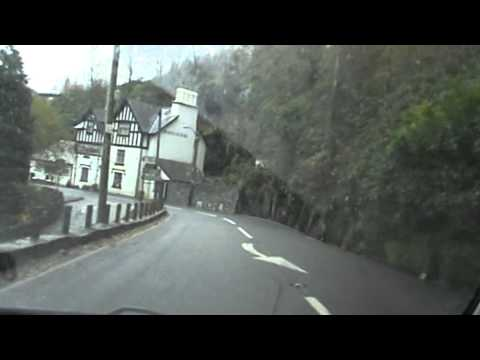 Beautiful pretty landscape of Wales driving To SweetLamb United KingDom Great Britain Opel A487 Road