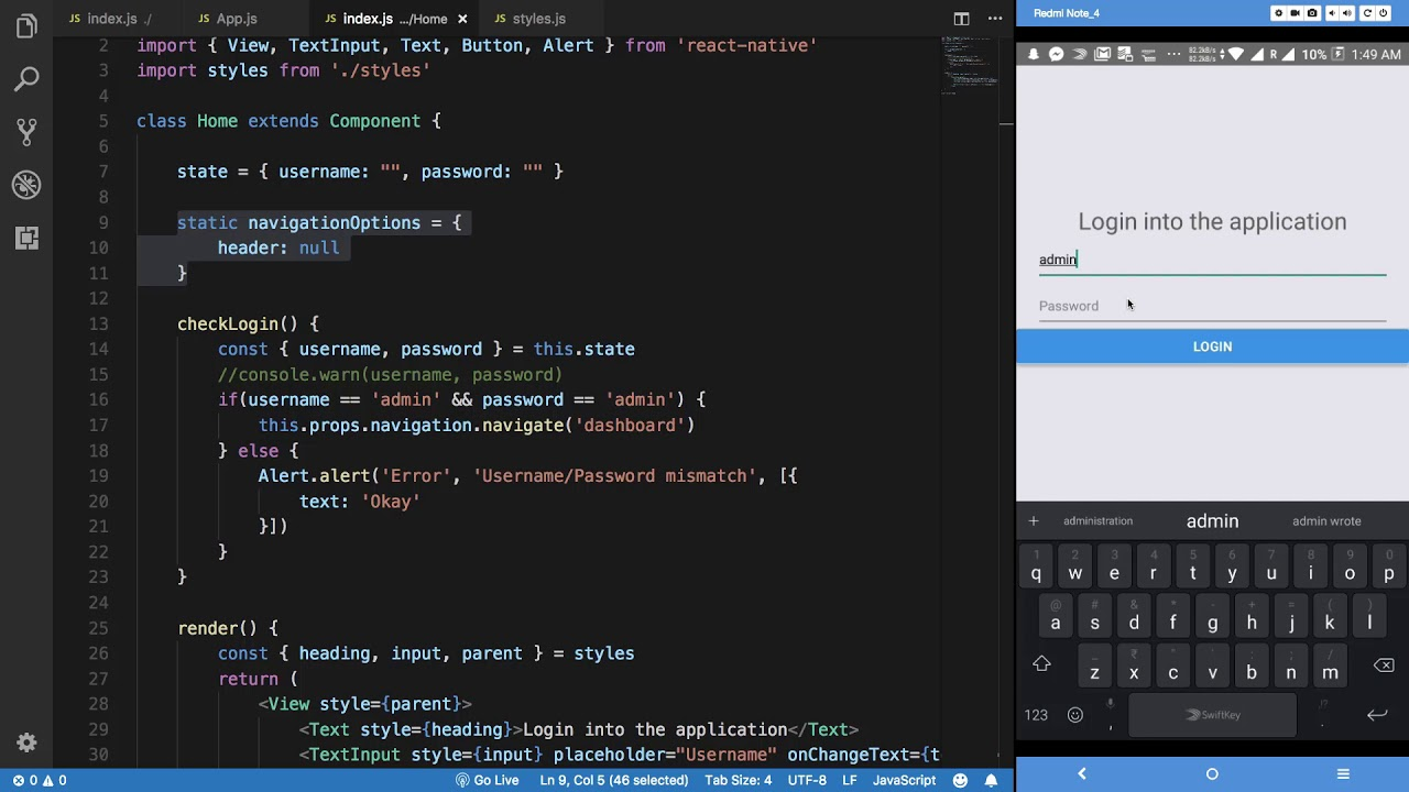 React Native Tutorial 26: Login Application - Part 5