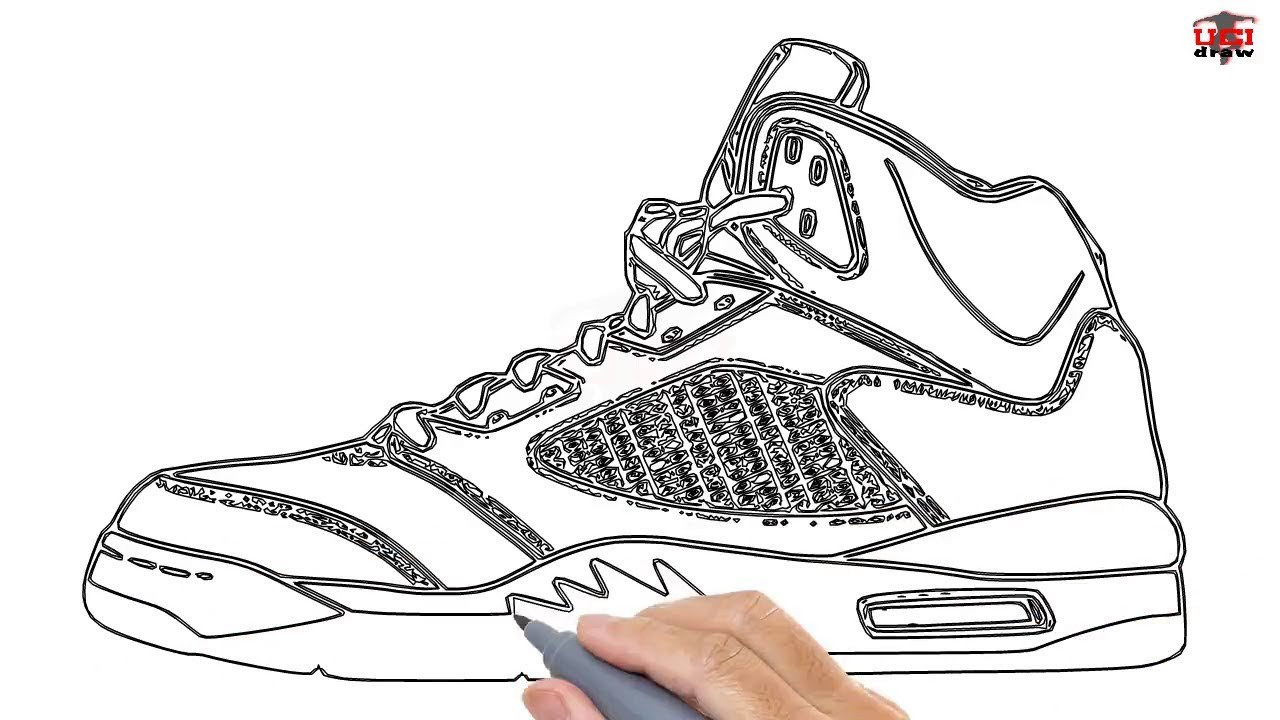 How to Draw a Jordan Shoe Easy Step By Step Drawing Tutorials for Kids –  UCIDraw