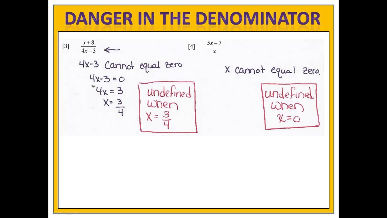 Solving Equations With A Variable In The Denominator