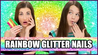 Rainbow Glitter Nail Art using HIGHLIGHTERS? - Makeup Mythbusters w/ Maybaby and Chloe East