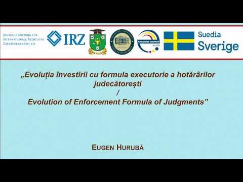 Dr. Eugen Huruba — Evolutia investirii cu formula executorie a hotararilor judecătoresti