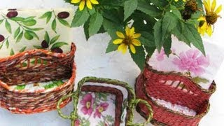▬►Плетение из газет ручек. Начало. / Weaving holders for a basket