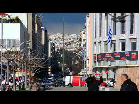 A minute of Greece: Streets of Thessaloniki Victory avenue (Leoforos Nikis) Λεωφόρος Νίκης