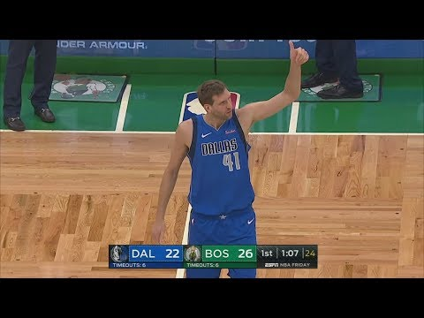 Celtics Fans Cheer Dirk Nowitzki to Score! 2018-19 NBA Season