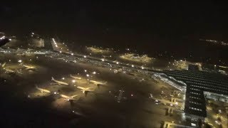 Boeing 777. Flight CX233 Cathay Pacific. Night Takeoff from Hong Kong Airport