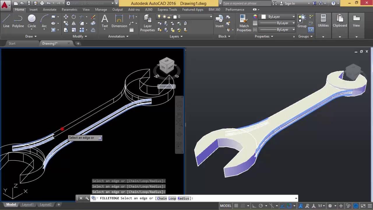 Autocad  Konversi 2D ke 3D Kunci Pas  YouTube
