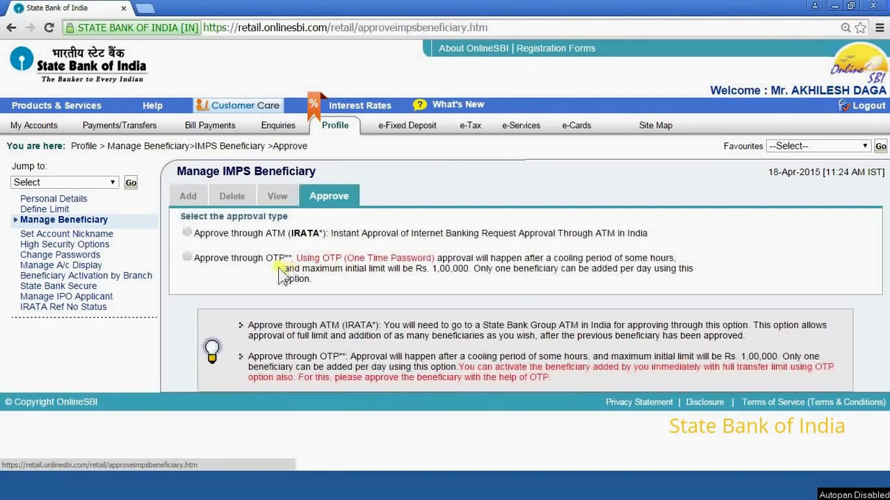 How To Add Imps Beneficiary For Money Transfer In Onlinesbi