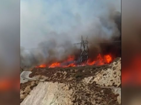 Raw: Video of Calif. Fire Near Highway