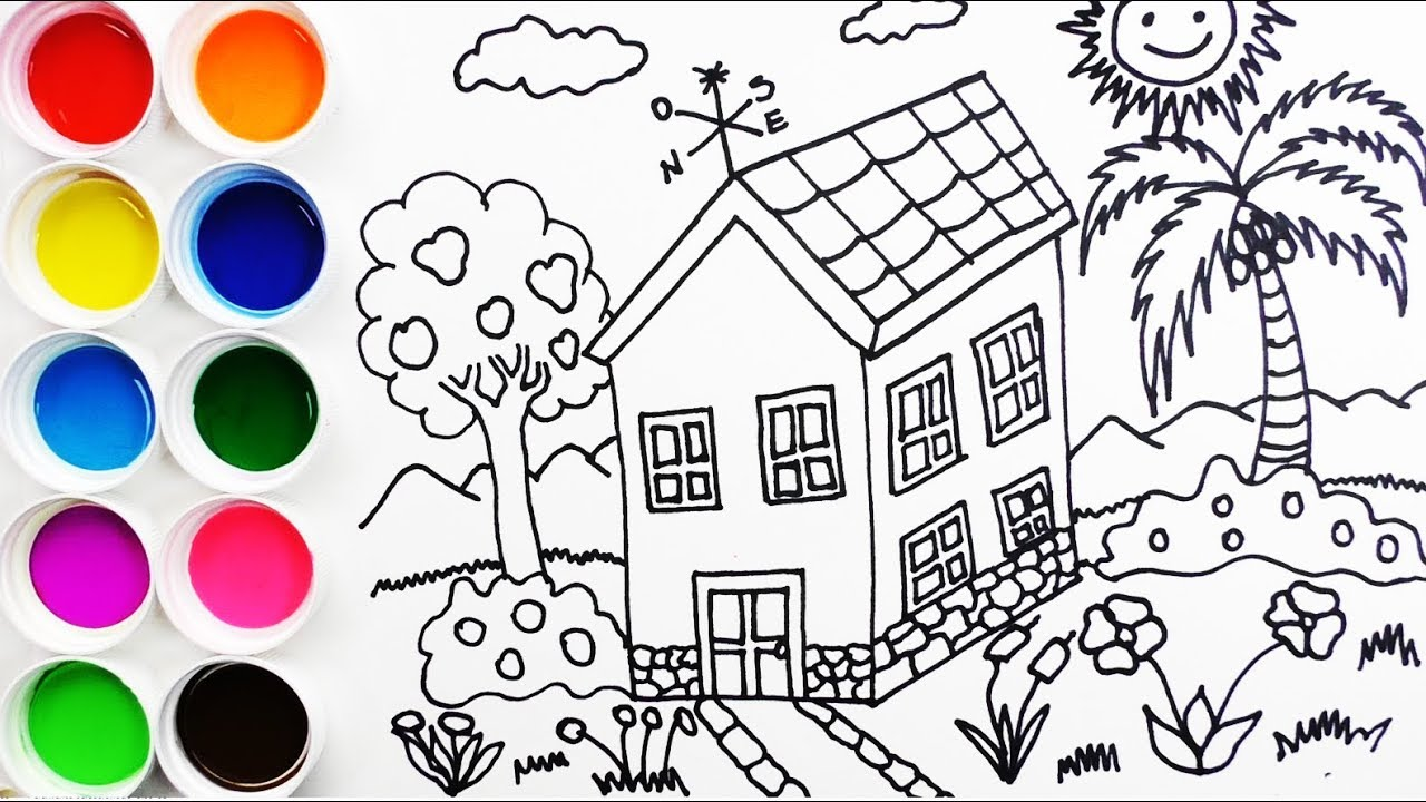 Cómo Dibujar Y Colorear Una Casa En La Villa Draw House Learn Colors Funkeep