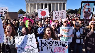 Protesters gather for a second Women's March