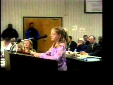 Claire Kirchharr speaks against the move of Brown Barge Middle School