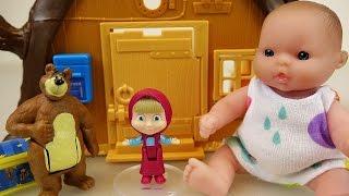Baby doll and Marsha and the Bear house toys play