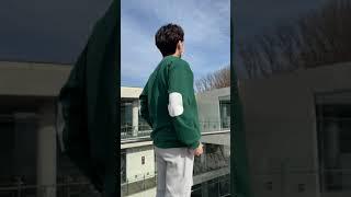 [기모] 레더 패치 맨투맨 (4color) 그린