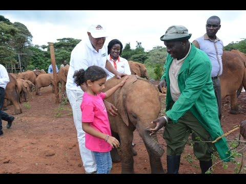 CS Najib Balala w/ Daughter at the Giraffe Centre & David Shedrick Wildlife Trust.