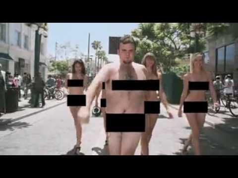 Women refreshing naked male race