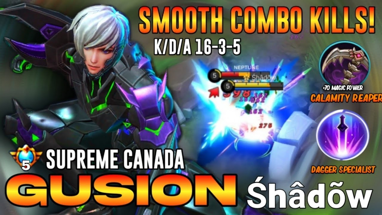 TOP GLOBAL GUSION Smoothest Hand Speed Combo with Perfect Magic Build  | GUSION GAMEPLAY BY SHADOW