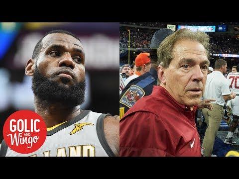 LeBron James' UNINTERRUPTED warns Alabama football of copyright infringement   Golic & Wingo   ESPN