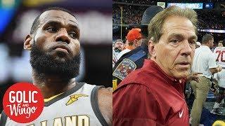 LeBron James' UNINTERRUPTED warns Alabama football of copyright infringement | Golic & Wingo | ESPN thumbnail