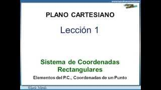 SISTEMAS DE COORDENADAS RECTANGULARES - Plano Cartesiano - Lección 1